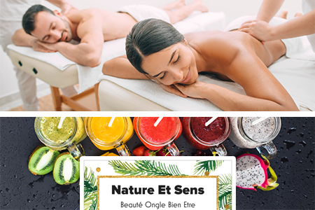 Massage duo découverte + cocktail de fruits (30 min)